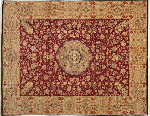 Tabriz 50 Raj Silkillä Matto 304X411 Itämainen Käsinsolmittu Vaaleanruskea/Tummanpunainen Isot (Villa/Silkki, Persia/Iran)