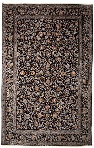 Keshan Allekirjoitettu: Parvari Matto 400X615 Itämainen Käsinsolmittu Tummanruskea/Tummanharmaa Isot (Villa, Persia/Iran)