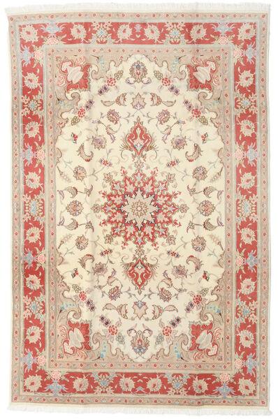 Tabriz 50 Raj Matto 190X293 Itämainen Käsinsolmittu Beige/Vaaleanruskea (Villa/Silkki, Persia/Iran)