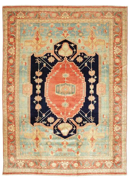 Heriz Matto 405X540 Itämainen Käsinsolmittu Tummanbeige/Vaaleanvihreä Isot (Villa, Persia/Iran)