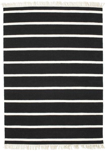 Dorri Stripe - Musta/Valkoinen Matto 140X200 Moderni Käsinkudottu Musta (Villa, Intia)