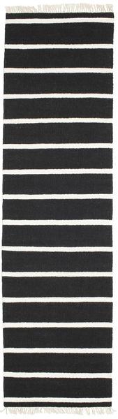 Dorri Stripe - Musta/Valkoinen Matto 80X300 Moderni Käsinkudottu Käytävämatto Musta/Valkoinen/Creme (Villa, Intia)