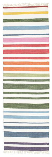 Rainbow Stripe - Valkoinen Matto 80X250 Moderni Käsinkudottu Käytävämatto Beige/Valkoinen/Creme (Puuvilla, Intia)