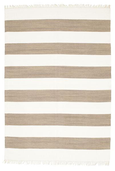 Cotton Stripe - Ruskea Matto 160X230 Moderni Käsinkudottu Vaaleanharmaa/Valkoinen/Creme (Puuvilla, Intia)