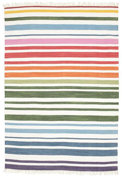 Rainbow Stripe - Valkoinen Matto 160X230 Moderni Käsinkudottu Valkoinen/Creme (Puuvilla, Intia)
