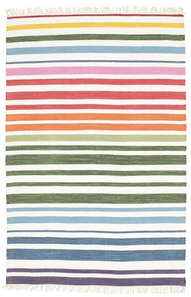 Rainbow Stripe - Valkoinen Matto 140X200 Moderni Käsinkudottu Valkoinen/Creme/Beige (Puuvilla, Intia)