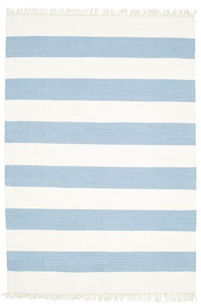 Cotton Stripe - Vaalea Sininen Matto 140X200 Moderni Käsinkudottu Beige/Vaaleansininen (Puuvilla, Intia)