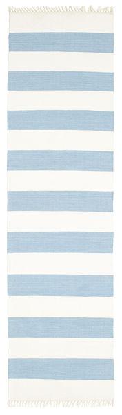 Cotton Stripe - Vaalea Sininen Matto 80X300 Moderni Käsinkudottu Käytävämatto Beige/Vaaleansininen (Puuvilla, Intia)