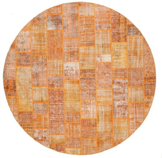 Patchwork Matto Ø 391 Moderni Käsinsolmittu Pyöreä Vaaleanruskea/Oranssi Isot (Villa, Turkki)