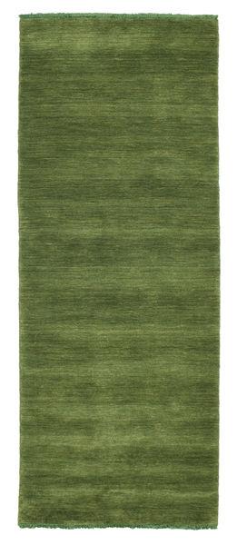 Handloom Fringes - Vihreä Matto 80X200 Moderni Käytävämatto Oliivinvihreä/Tummanvihreä (Villa, Intia)