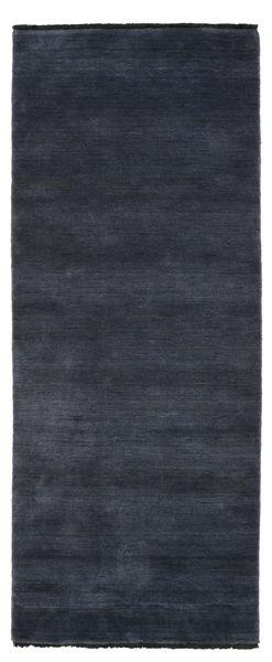 Handloom Fringes - Tummansininen Matto 80X200 Moderni Käytävämatto Tummansininen/Musta (Villa, Intia)