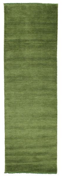 Handloom Fringes - Vihreä Matto 80X250 Moderni Käytävämatto Oliivinvihreä/Tummanvihreä (Villa, Intia)