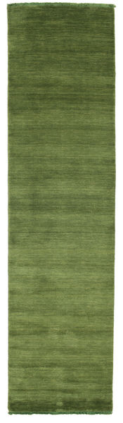 Handloom Fringes - Vihreä Matto 80X300 Moderni Käytävämatto Oliivinvihreä/Tummanvihreä (Villa, Intia)