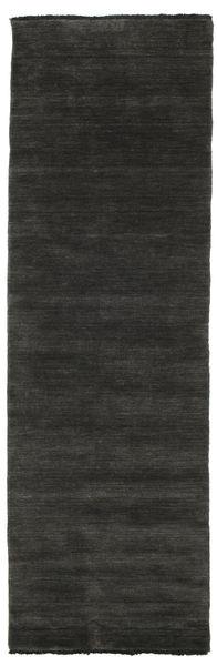 Handloom Fringes - Musta/Harmaa Matto 80X250 Moderni Käytävämatto Musta/Tummanharmaa (Villa, Intia)