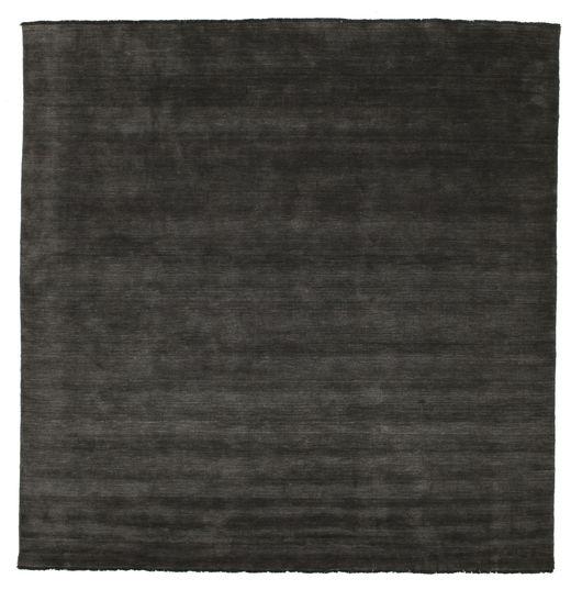 Handloom Fringes - Musta/Harmaa Matto 300X300 Moderni Neliö Musta Isot (Villa, Intia)