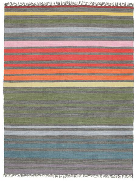 Rainbow Stripe - Harmaa Matto 200X250 Moderni Käsinkudottu Vaaleanharmaa/Oliivinvihreä (Puuvilla, Intia)