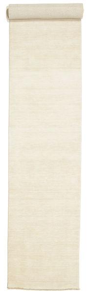 Handloom Fringes - Vaalea Matto 80X500 Moderni Käytävämatto Beige (Villa, Intia)