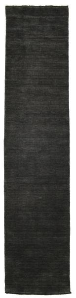 Handloom Fringes - Musta/Harmaa Matto 80X350 Moderni Käytävämatto Musta (Villa, Intia)
