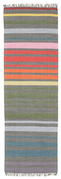 Rainbow Stripe - Harmaa Matto 80X250 Moderni Käsinkudottu Käytävämatto Tummanharmaa/Vaaleanharmaa (Puuvilla, Intia)