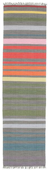 Rainbow Stripe - Harmaa Matto 80X300 Moderni Käsinkudottu Käytävämatto Tummanharmaa/Vaaleanharmaa (Puuvilla, Intia)