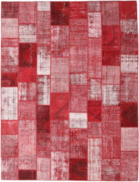 Patchwork Matto 302X399 Moderni Käsinsolmittu Punainen/Vaaleanpunainen Isot (Villa, Turkki)
