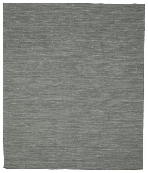 Kelim Loom - Tummanharmaa Matto 0X0 Moderni Käsinkudottu Tummanvihreä/Vaaleanharmaa (Villa, Intia)