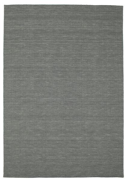 Kelim Loom - Tummanharmaa Matto 200X300 Moderni Käsinkudottu Tummanvihreä (Villa, Intia)