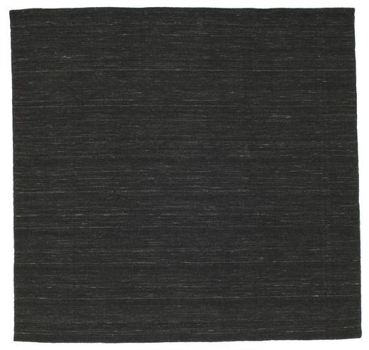 Kelim Loom - Musta Matto 200X200 Moderni Käsinkudottu Neliö Musta (Villa, Intia)
