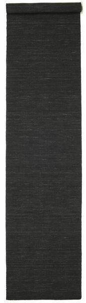 Kelim Loom - Musta Matto 80X400 Moderni Käsinkudottu Käytävämatto Musta (Villa, Intia)