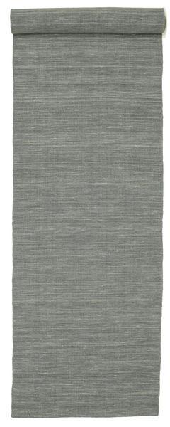 Kelim Loom - Tummanharmaa Matto 80X500 Moderni Käsinkudottu Käytävämatto Vaaleanharmaa/Tummanvihreä (Villa, Intia)