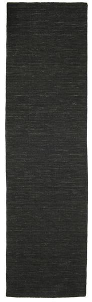 Kelim Loom - Musta Matto 80X300 Moderni Käsinkudottu Käytävämatto Musta (Villa, Intia)