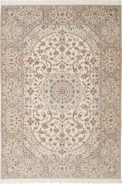 Nain 6La Habibian Matto 205X303 Itämainen Käsinsolmittu Vaaleanharmaa/Beige (Villa/Silkki, Persia/Iran)