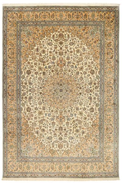 Kashmir 100% Silkki Matto 212X315 Itämainen Käsinsolmittu Tummanbeige/Vaaleanruskea (Silkki, Intia)