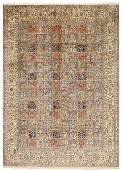 Kashmir 100% Silkki Matto 245X344 Itämainen Käsinsolmittu Vaaleanharmaa/Vaaleanruskea (Silkki, Intia)