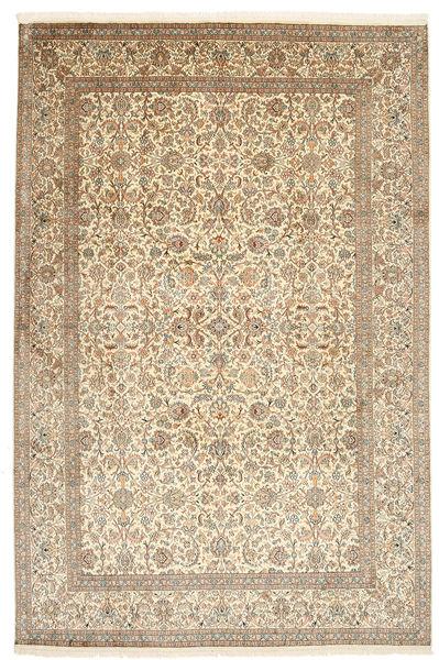Kashmir 100% Silkki Matto 184X276 Itämainen Käsinsolmittu Beige/Vaaleanharmaa (Silkki, Intia)