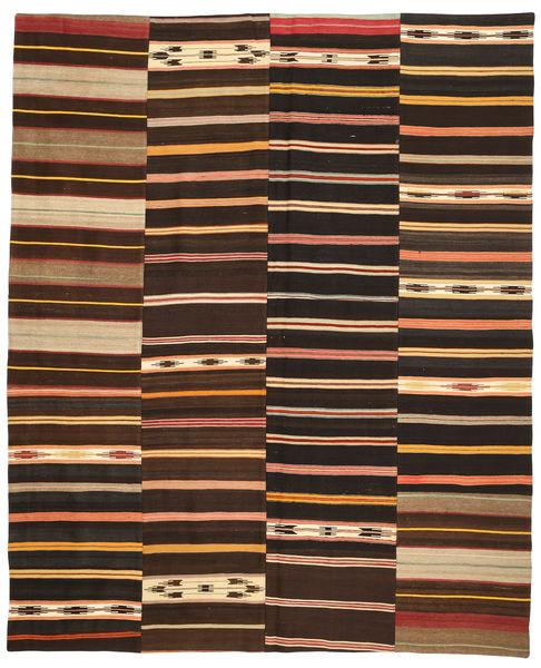 Kelim Patchwork Matto 246X300 Moderni Käsinkudottu Tummanruskea/Ruskea (Villa, Turkki)