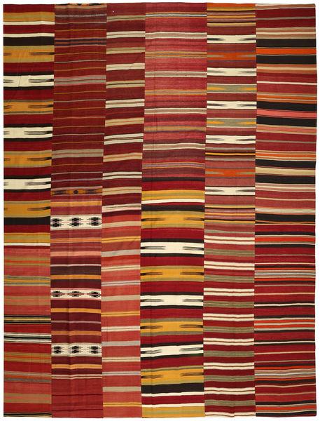 Kelim Patchwork Matto 355X444 Moderni Käsinkudottu Tummanpunainen/Punainen Isot (Villa, Turkki)
