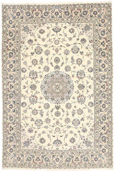 Nain 6La Habibian Matto 200X296 Itämainen Käsinsolmittu Vaaleanharmaa/Beige (Villa/Silkki, Persia/Iran)