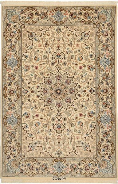 Isfahan Silkkiloimi Allekirjoitettu: Keiyani Matto 110X160 Itämainen Käsinsolmittu Vaaleanruskea/Tummanbeige (Villa/Silkki, Persia/Iran)