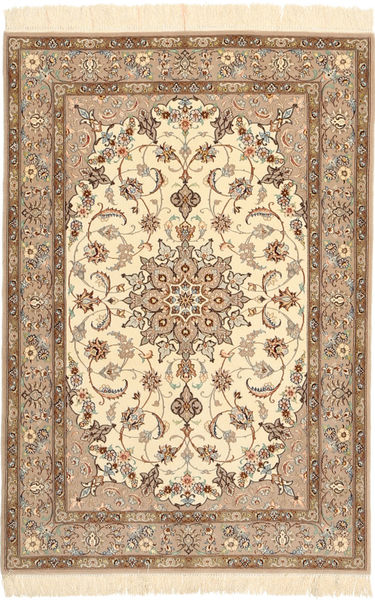 Isfahan Silkkiloimi Matto 110X160 Itämainen Käsinsolmittu Beige/Ruskea (Villa/Silkki, Persia/Iran)
