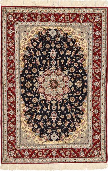 Isfahan Silkkiloimi Matto 108X160 Itämainen Käsinsolmittu Tummanpunainen/Vaaleanruskea (Villa/Silkki, Persia/Iran)
