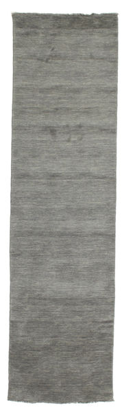 Handloom Fringes - Tummanharmaa Matto 80X300 Moderni Käytävämatto Tummanharmaa (Villa, Intia)