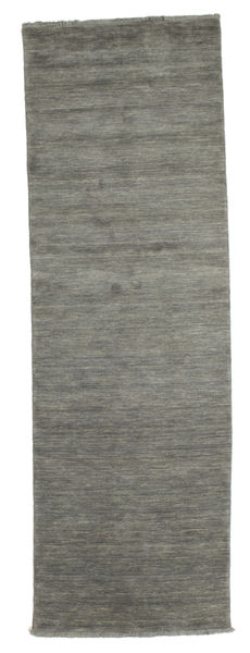 Handloom Fringes - Tummanharmaa Matto 80X250 Moderni Käytävämatto Tummanharmaa/Vaaleanharmaa (Villa, Intia)