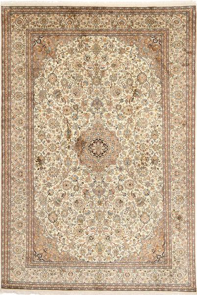 Kashmir 100% Silkki Matto 192X283 Itämainen Käsinsolmittu Ruskea/Vaaleanruskea (Silkki, Intia)