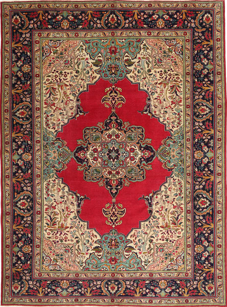 Tabriz Patina Matto 264X355 Itämainen Käsinsolmittu Tummanruskea/Tummanpunainen Isot (Villa, Persia/Iran)