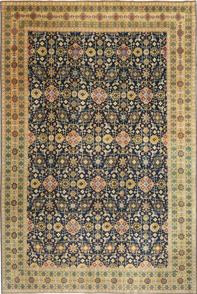 Tabriz Patina Matto 244X360 Itämainen Käsinsolmittu Musta/Tummanbeige (Villa, Persia/Iran)