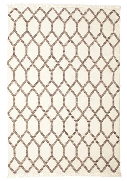 Renzo Matto 200X300 Moderni Käsinkudottu Beige/Vaaleanharmaa (Villa, Intia)