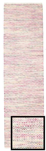 Hugo - Multi Roosa Matto 80X300 Moderni Käsinkudottu Käytävämatto Vaaleanpunainen/Beige ( Intia)