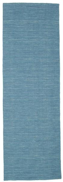 Kelim Loom - Sininen Matto 80X250 Moderni Käsinkudottu Käytävämatto Siniturkoosi/Sininen (Villa, Intia)