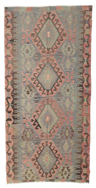 Kelim Semiantiikki Turkki Matto 150X314 Itämainen Käsinkudottu Vaaleanharmaa/Oliivinvihreä (Villa, Turkki)